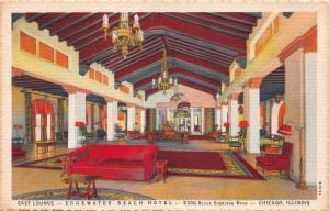 East Lounge, Edgewater Beach Hotel, Chicago, Illinois, Early Postcard, Used