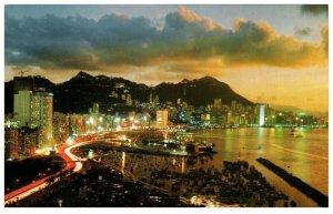 Night Scene Mountains Water Background Hong Kong Postcard PC1038