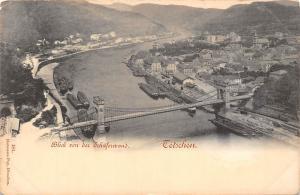 Czech R. Decin, Tetschen, Blick von der Schaeferwand, bridge bruecke AK