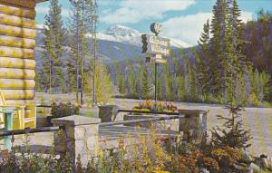 Canada Mount Tekarra from Alpine Village Bungalow Camp Jasper National Park A...