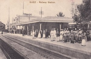 Suez Egypt Railway Station Antique Postcard