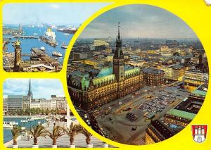 Hamburg Hafen Schiff Harbour Boats General view Town Hall Rathaus Auto Cars