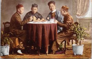 'Chinese Taking Chow Chow' Hong Kong China Men Eating Antique Postcard E17