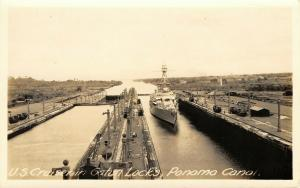 Panama Canal~Gatun Locks~US Navy Cruiser~Cars~Buildings~1930s Real Photo~RPPC