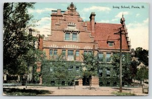 Peoria Illinois~Irving School~Dutch Crow Stepped Gable Architecture~1911 PC