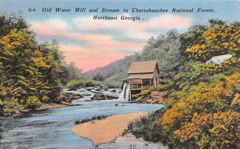 GA, Georgia OLD WATER MILL~Chattahoochee National Forest  c1940's Linen Postcard