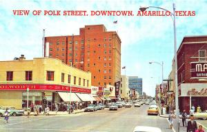 Amarillo TX Street View Woolworth's Store fronts Old Cars Postcard