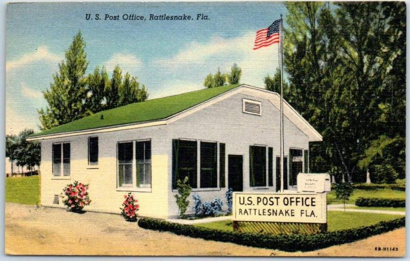 Rattlesnake, Florida Postcard U.S. Post Office Tichnor Linen c1940s Unused