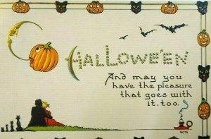 Vintage Halloween Postcard Bergman Fantasy Art Fancy Border Harvard Mass Antique