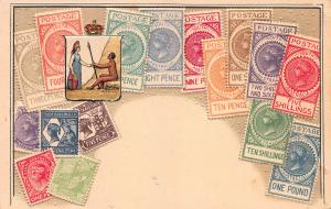 South Australia, Classic Stamps in Actual Colors, Early Embossed Postcard,Unused