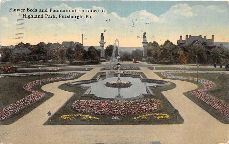 Pittsburgh Pennsylvania~Highland Park~Flower Beds & Fountain