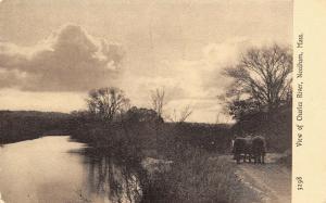 Needham Massachusetts~Horse Team Hauling Along Charles River~1907 Sepia Postcard