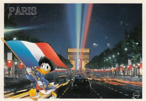 DISNEY, Donald Duck walking CHAMPS-ELYSEES, France at Night, 1990s-2000s
