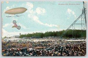 Brockton MA Fair~Daredevil Car on Chute Jump Flips~Blimp Zeppelin~Airship~1908