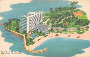 Puerto Rico Post card Old Vintage Antique Postcard Caribe Hilton San Juan Unused