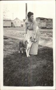 Woman & Her Dog Candid Amateur Real Photo Postcard c1920