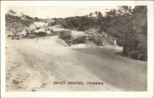 WWII Okinawa Japan Bailey Bridges Real Photo Postcard dcn