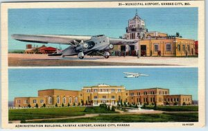 Kansas City MO Postcard Fairfax & Municipal Airports -Curteich Linen 1947 Cancel