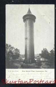 LANCASTER PENNSYLVANIA PA. NEW STAND PIPE WATER TOWER VINTAGE POSTCARD B&W