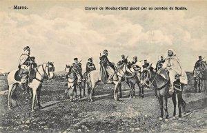 MOROCCO AFRICA~ENVOYE de MOULAY HAFID GARDE par un PELOTON SPAHIS PHOTO POSTCARD