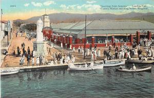 Jamaica Greetings! Kingston, Landing Pier Victoria Market and King Street Boats
