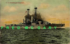 1909 Postcard: US Dreadnaught Delaware
