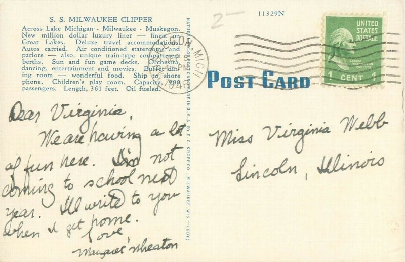 S S Milwaukee Clipper Ship on Lake Michigan 1946 Linen Postcard