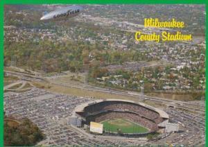 Wisconsin Milwaukee County Stadium With Goodyear Blimp Home Of MIlwaukee Brew...