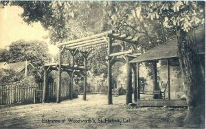 St. Helena, CA Woodworth's Entrance B&W Postcard McGown-Silsbee Litho Co