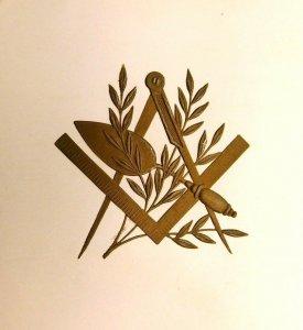 Masonic Emblem Mason Extremely Heavily Embossed Raised Image Trade Card F46