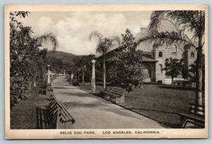 Los Angeles California~Selig Park Zoo~Path Past Animal Houses~1920s Sepia Litho