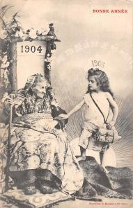 Bonne Annee old woman young girl, Old and New Year 1904-1905