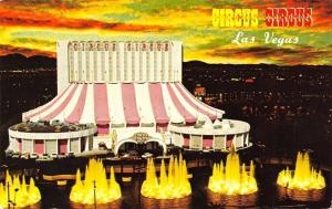 Las Vegas Nevada~Circus Circus Night Lights~Sunset~1970s Postcard