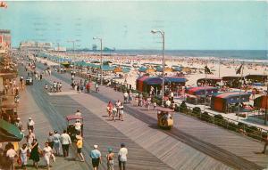Atlantic City Boardwalk Beach pm 1960s  NJ New Jersey Postcard