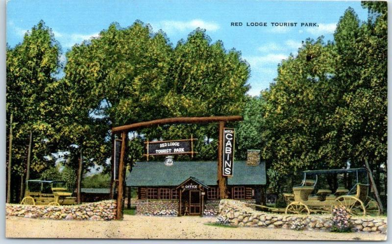 1940s Wyoming Postcard RED LODGE TOURIST PARK Highway 12 Yellowstone KROPP Linen