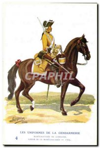 Old Postcard The uniforms of the gendarmerie Lorraine MArechausee 1763 Metiers