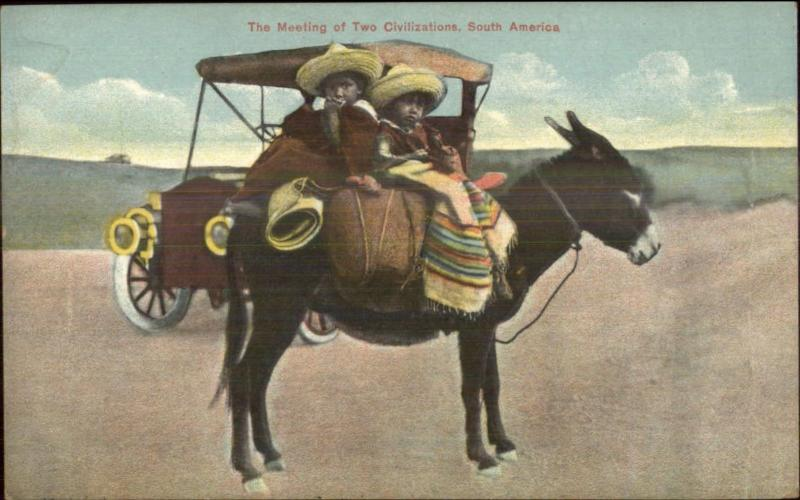 Mule & Children Juxtaposed w/ 'Modern' Car in South America c1910 Postcard