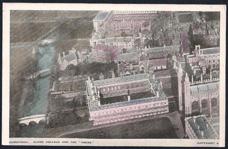 Clare College & Backs birdseye Cambridge UK unused c1920's