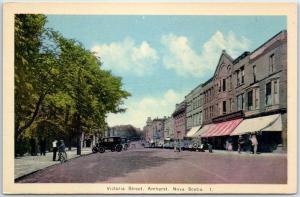 Amherst, Nova Scotia Canada Postcard VICTORIA STREET Downtown Scene 1930s Unused