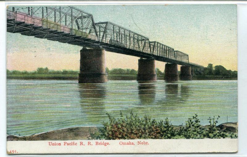Union Pacific Railroad Bridge Omaha Nebraska 1909 postcard