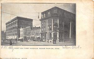 Cedar Rapids Iowa~First Ave~National Corner Bank~Mansard Roof~Loftus? Bros c1906