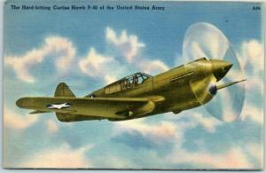Military Aircraft Postcard Hard-Hitting CURTISS HAWK P-40 - U.S. Army Linen