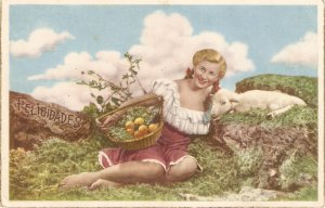 Pretty peasant lady with basket of fruits and lamb Nice Spanish Postcard 1950s