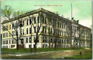Fort Wayne, Indiana Postcard HIGH SCHOOL Building / Street View 1908 Cancel
