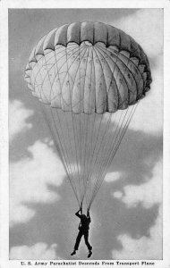 U.S. Army Parachutist Descends from Plane Military WWII c1940s Vintage Postcard