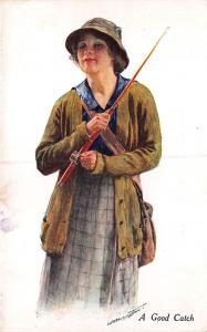 A Good Catch Woman Fly Fishing Outfit  Signed Postcard