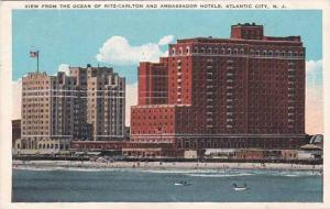 New Jersey Atlantic City View From The Ocean Of Ritz Carlton And Ambassador H...