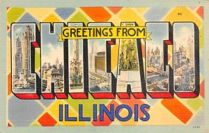 Greetings from Chicago, Illinois Large Letter Unused