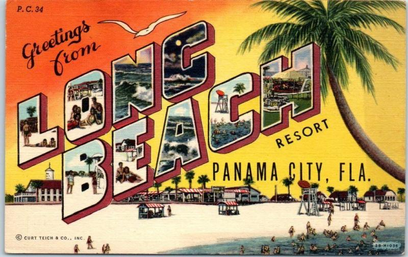 LONG BEACH RESORT Florida Postcard Panama City Florida Curteich Linen c1940s