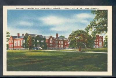 Virginia postcard Dorm Roanoke College Salem near Ronanoke
